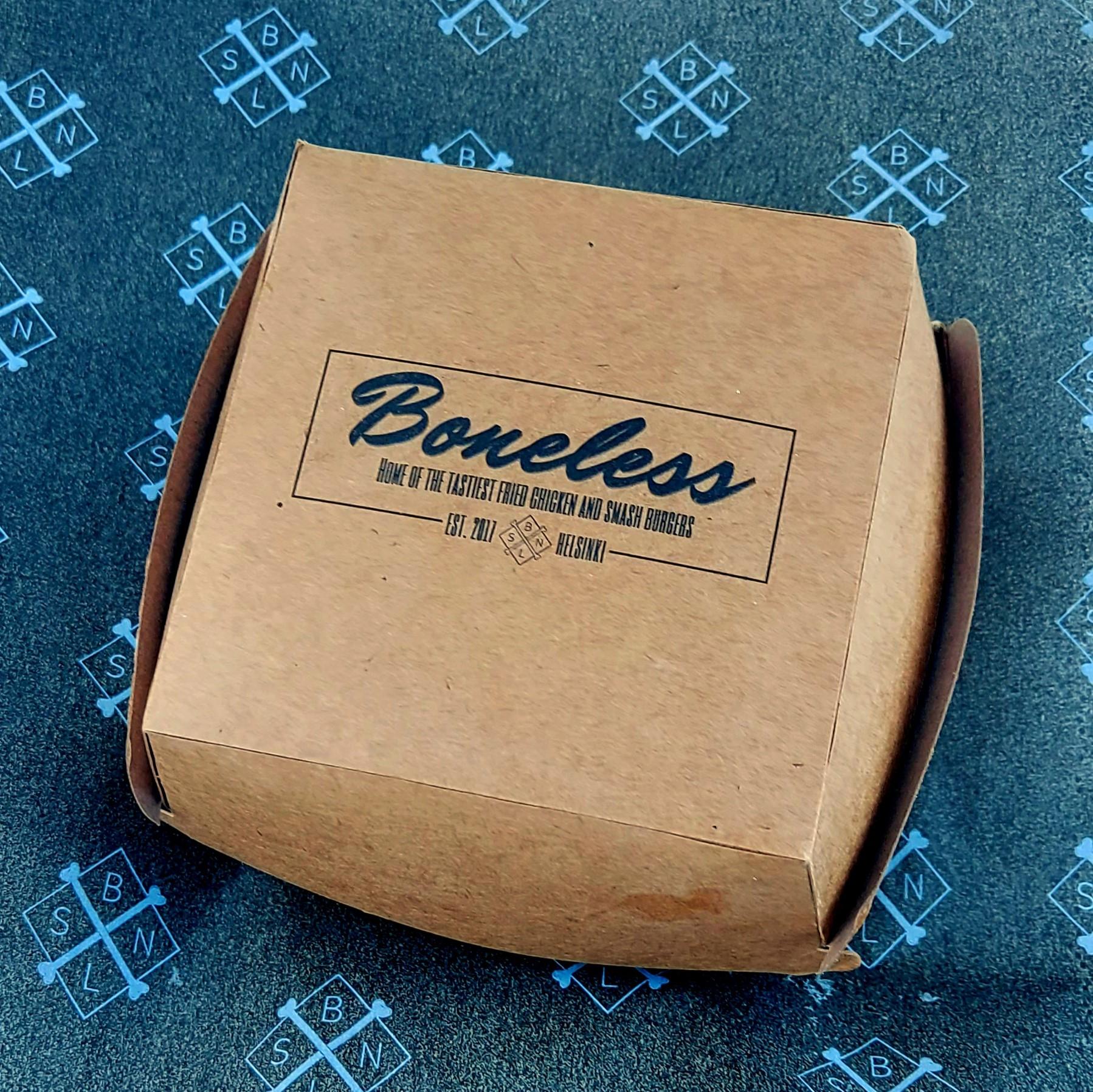 Boneless restaurants logoprinted burger box and wrapper